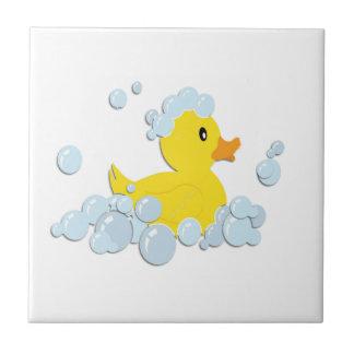 Azulejo De Cerâmica Ducky de borracha nas bolhas