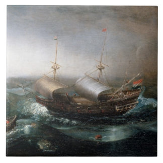 Azulejo De Cerâmica Embarcações mercantes holandesas e um Smalschip