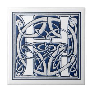 Azulejo De Cerâmica Inicial celta H do dragão