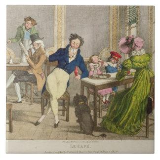 Azulejo De Cerâmica Le Café, bar. por Rodwell e por Martin, 1820 (cor