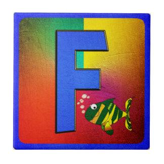 Azulejo De Cerâmica Letra F do alfabeto