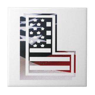Azulejo De Cerâmica Letra L bandeira patriótica dos EUA da inicial do
