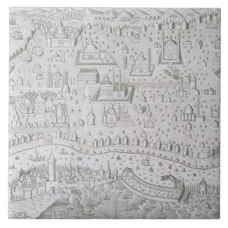 Azulejo De Cerâmica Mapa da cidade de Constantinople, Turquia, c.1650