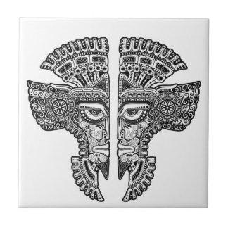 Azulejo De Cerâmica Máscara maia preta dos gêmeos no branco