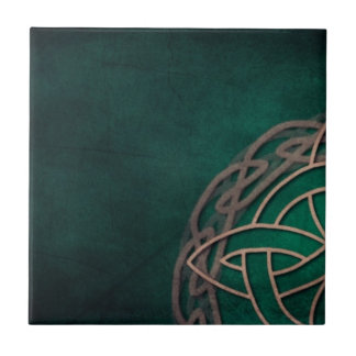 Azulejo De Cerâmica nó celta no fundo verde