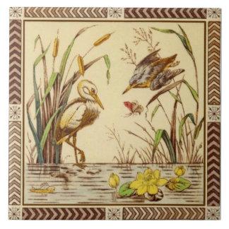 Azulejo De Cerâmica Os 1880s estéticos raros da vida da lagoa da