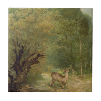 Azulejo De Cerâmica Os cervos caçados, primavera por Gustave Courbet