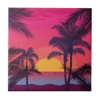 Azulejo De Cerâmica Paisagem romântica com palmeiras