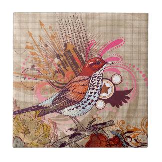 Azulejo De Cerâmica Pássaro do Grunge mim