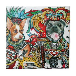 Azulejo De Cerâmica Pitbull e chihuahua