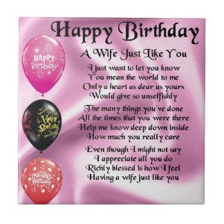 Azulejo De Cerâmica Poema da esposa - design do feliz aniversario