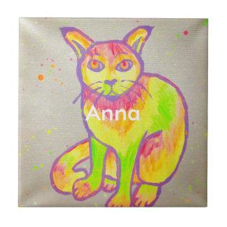 Azulejo De Cerâmica Porta copos de néon pintado mão do gato
