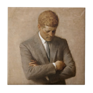 Azulejo De Cerâmica Retrato branco oficial da casa de John F. Kennedy