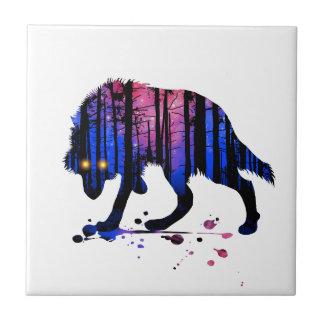 Azulejo De Cerâmica Silhueta adolescente da floresta da estrela da