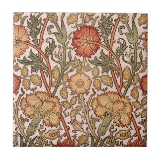 Azulejo De Cerâmica Tecido floral do desenhista do rosa do vintage do