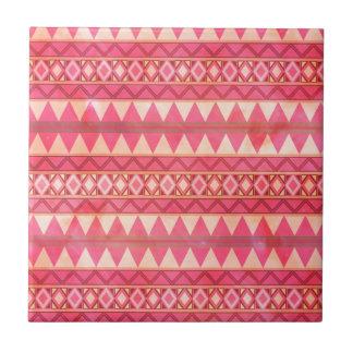 Azulejo De Cerâmica Teste padrão tribal cor-de-rosa à moda do