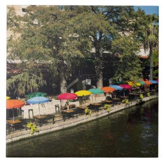 Azulejo De Cerâmica Texas, Riverwalk, jantando na borda do rio
