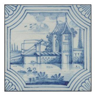 Azulejo de Delft que mostra um drawbridge sobre um