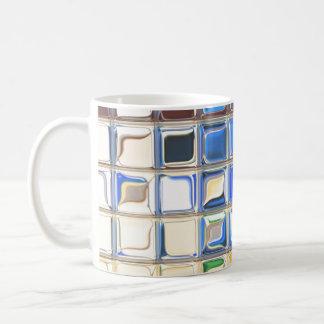 Azulejo de mosaico azul do café caneca de café