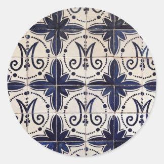 Azulejo do português do vintage adesivos em formato redondos