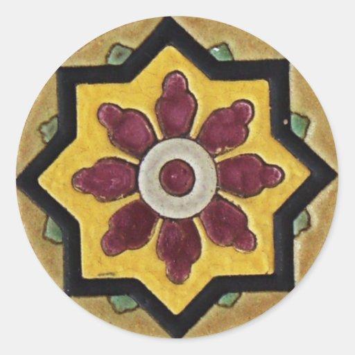 Azulejo do vintage adesivos em formato redondos