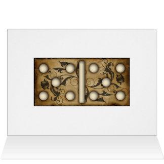 Azulejo dobro-cinco do dominó dos dominós do cartão de nota