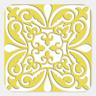 Azulejo marroquino - amarelo e branco da mostarda adesivo em forma quadrada