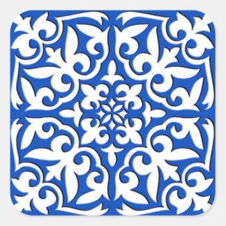 Azulejo marroquino - azuis cobaltos e branco adesivo quadrado