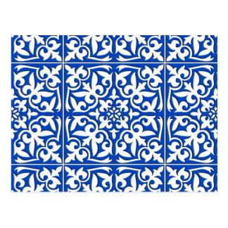 Azulejo marroquino - azuis cobaltos e branco cartão postal