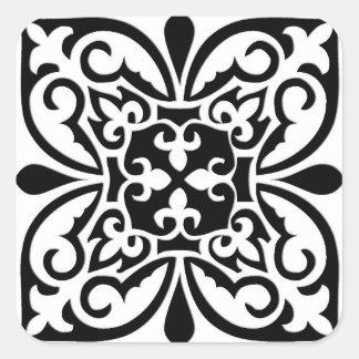 Azulejo marroquino - branco com fundo preto adesivos quadrados