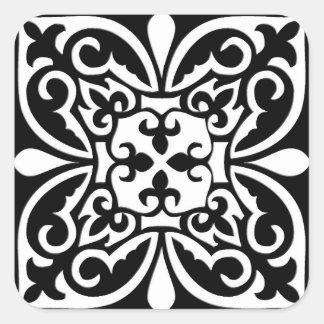 Azulejo marroquino - preto com fundo branco adesivo em forma quadrada