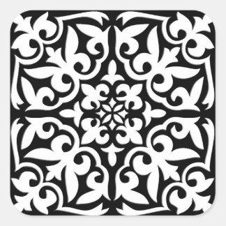 Azulejo marroquino - preto com fundo branco adesivos quadrados