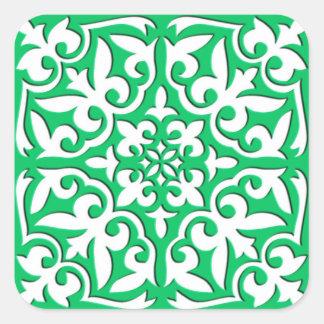 Azulejo marroquino - verde e branco de jade adesivo em forma quadrada