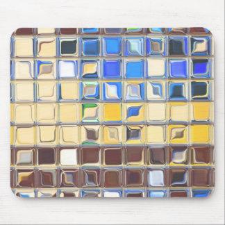 Azulejos azuis do vidro do ~ do café mouse pad