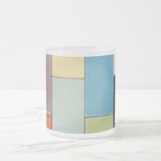 Azulejos coloridos - canecas do vidro de fosco caneca de café vidro jateado