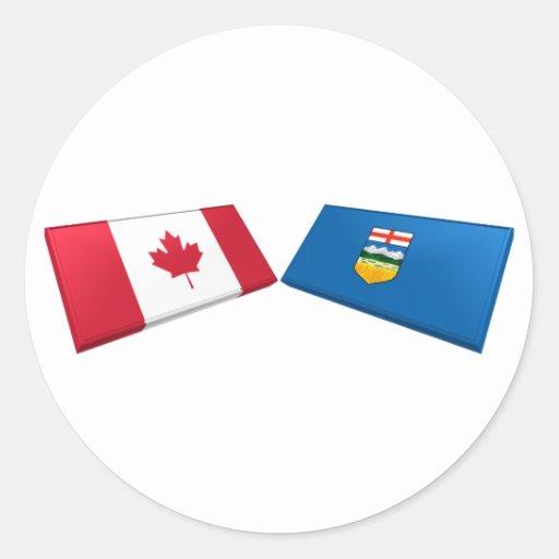 Azulejos da bandeira de Canadá & de Alberta Adesivos Em Formato Redondos