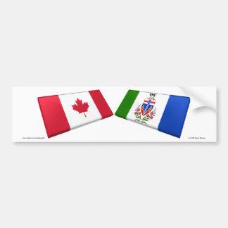 Azulejos da bandeira de Canadá & de território yuk Adesivo Para Carro
