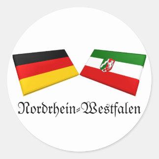 Azulejos da bandeira de Nordrhein-Westfalen, Adesivos Em Formato Redondos