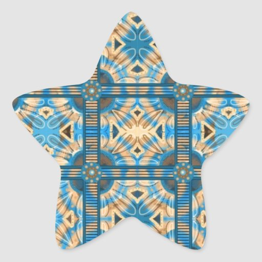 Azulejos do azul e do ouro adesivo em forma de estrela