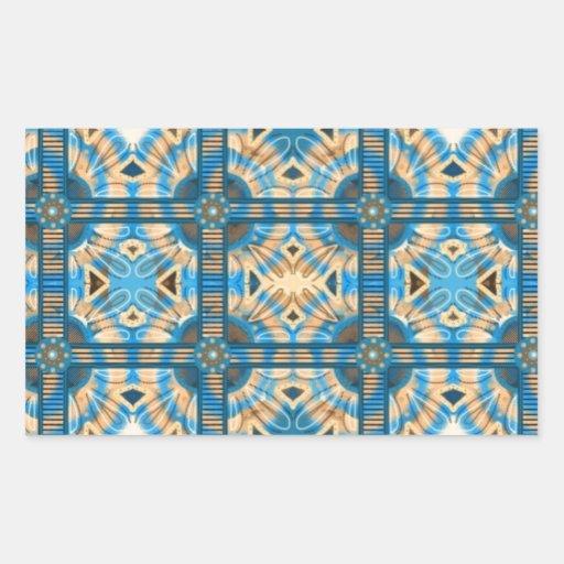 Azulejos do azul e do ouro adesivos retangular