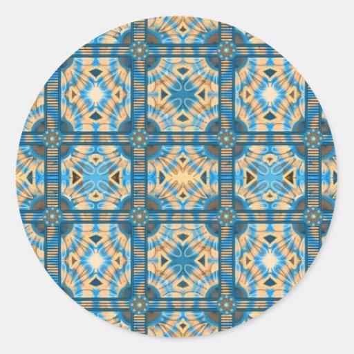 Azulejos do azul e do ouro adesivo em formato redondo