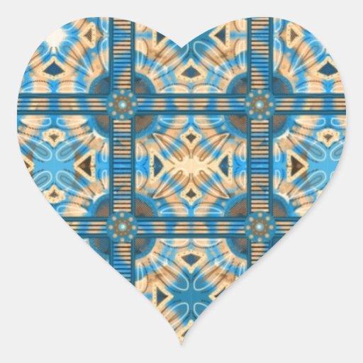Azulejos do azul e do ouro adesivos de corações