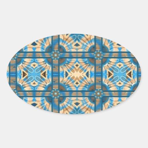 Azulejos do azul e do ouro adesivos ovais