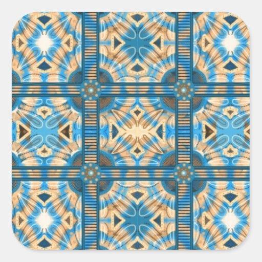 Azulejos do azul e do ouro adesivo quadrado