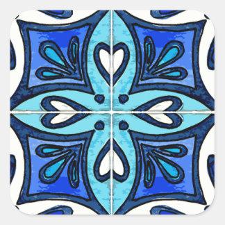 Azulejos do coração inspirados pelo azul de adesivo quadrado