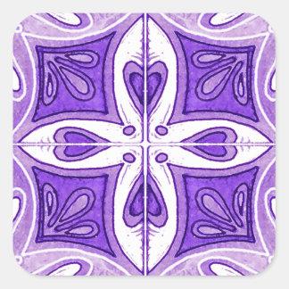 Azulejos do coração inspirados pelo roxo de adesivos quadrados