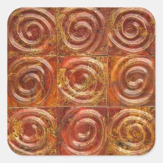 Azulejos espirais de cobre adesivo quadrado