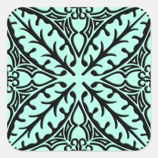 Azulejos marroquinos - aqua azul e preto adesivo quadrado