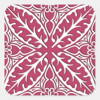 Azulejos marroquinos - magenta e branco adesivo em forma quadrada