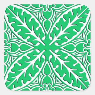 Azulejos marroquinos - verde e branco de jade adesivo em forma quadrada